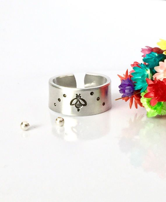 Bee Ring Bee Jewelry Hand Stamped Ring Band by AprilHyltonDesigns