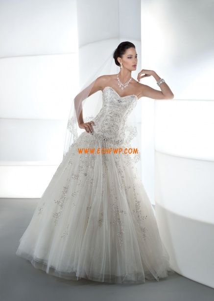 Organza Sin Mangas Baja Vestidos de novias 2013