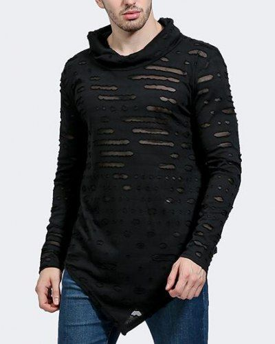 Asymmetrical ripped t shirt with holes cowl neck tops for men long sleeve