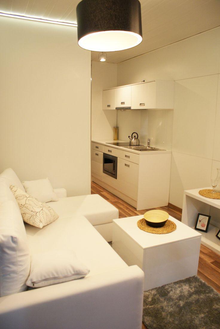 Część salonu i aneksu kyuchennego Rubiloft 24 m2