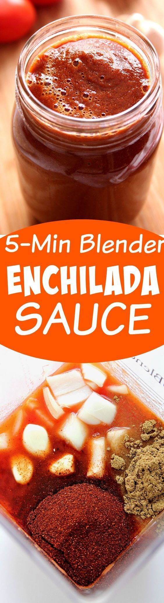 5-Minute Blender Enchilada Sauce Recipe - homemade enchilada sauce made with just 7 ingredients is my new favorite diy recipe. I will never buy it in a can again! (honey ham recipe)