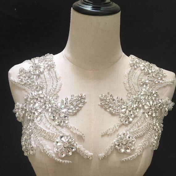 Strass Robe de mariée Applique Strass Mariée Accessoires Trim Beaded Motif