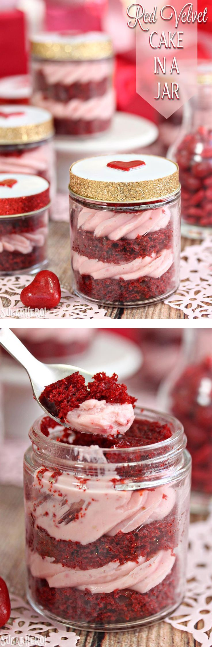 Red Velvet Cake In A Jar- the best way to enjoy cake! It's cute, portable, and delicious. This recipe gives red velvet cake a twist by using strawberry rose cream cheese! | From http://SugarHero.com