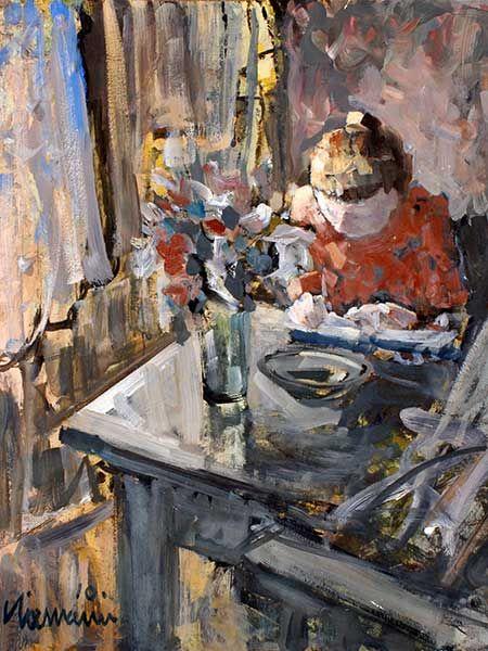 Girl Writing - Hennie Niemann South African b.1941- Oil on canvas. 42 x 37 cm