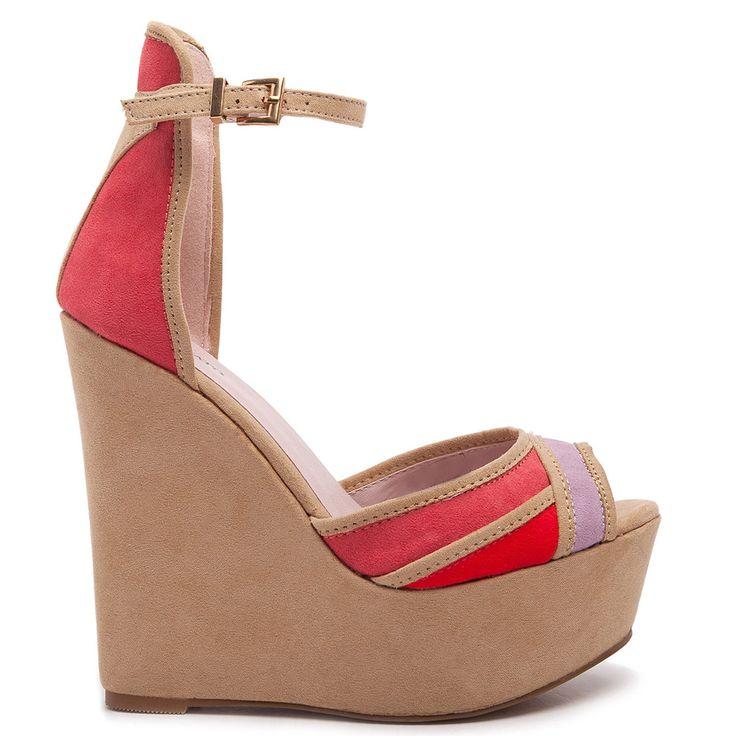 Beige suede high heel platform with strap