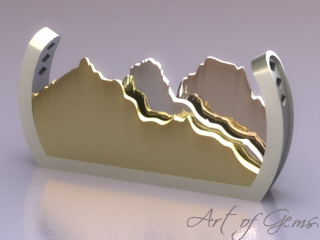 Echoes slide pendant, featuring white, yellow, and rose gold - a perfect view of the Three Sisters range in the mountain town of Canmore #ArtofGems