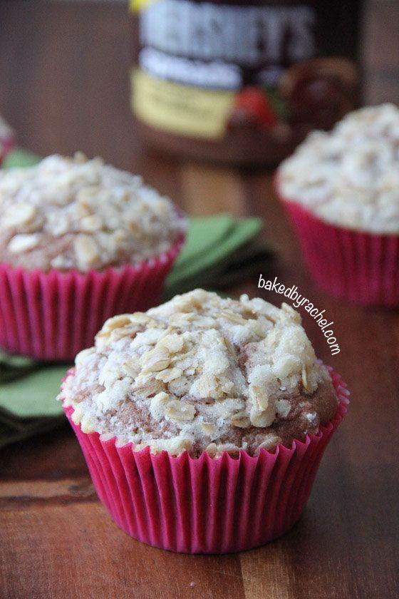 Chocolate Banana Streusel Muffins Recipe from bakedbyrachel.com #spreadpossibilities