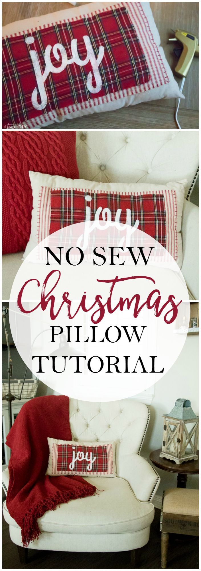 Love this no sew Christmas pillow tutorial. Such a cute plaid Christmas pillow! Love & 25+ unique Sewing pillows ideas on Pinterest | Sewing pillows ... pillowsntoast.com