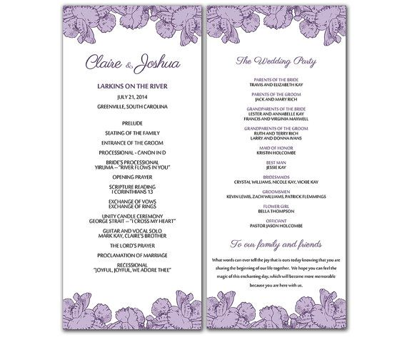 8 best wedding programs images on Pinterest Wedding programs - wedding program template