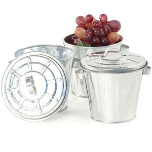$3.79, 4.25 inch Mini Trash Can Galvanized  party favors, center pieces, silverware?