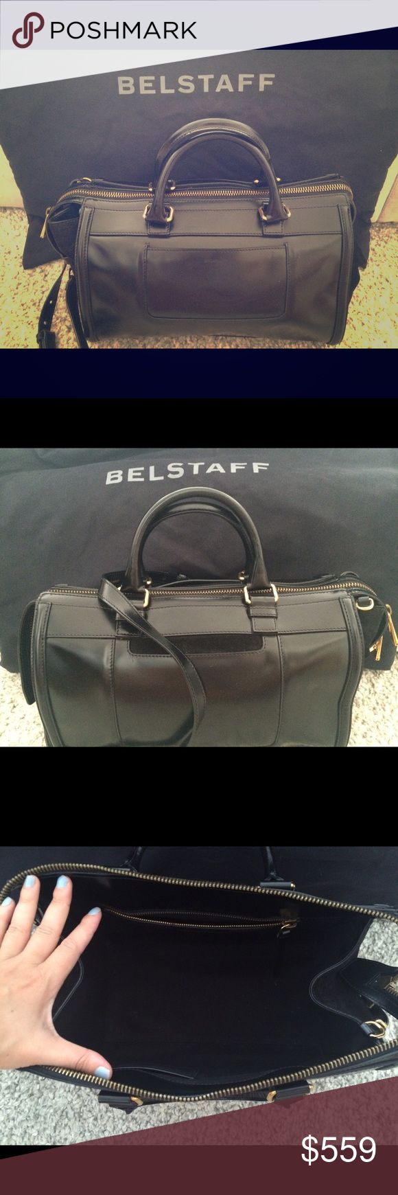 "Belstaff Shoulder Bag Black Belstaff Catherine shoulder bag.  Glossy leather with suede side gussets and brass hardware. Removable, adjustable shoulder strap.Extended, two-way zip top.Two exterior open pockets. Inside, faille lining; one zip and one open pocket. Metal feet protect the bottom of the bag.9""H x 12 1/2""W x 7""D.Made in Italy. I was bought this as a present and just don't find myself using it that often. It's in great condition. Comes with materiel Belstaff protective bag cover…"