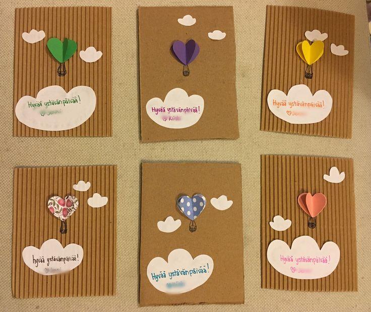 Yatävänpäivä, kortti, diy, sydän, kuumailmapallo, valentines day, card, hearts, hot air balloon
