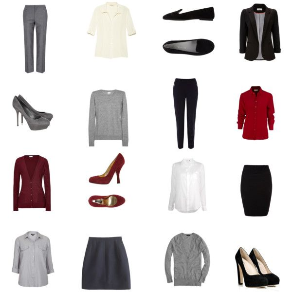 """Office Wardrobe Sudoku - a great way to start a capsule wardrobe and begin organizing your clothing. Imagine a grid on the picture. Each horizontal row and each vertical row creates a complete outfit. Each """"quarter"""" of the grid, ie the four items that make up each corner, also make a complete outfit. Thinking of making these for each season / setting!"""