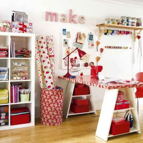 Sewing room- remember to make a place for bolts, A frame table has less storage - maybe look at west elm/ pb for better example.
