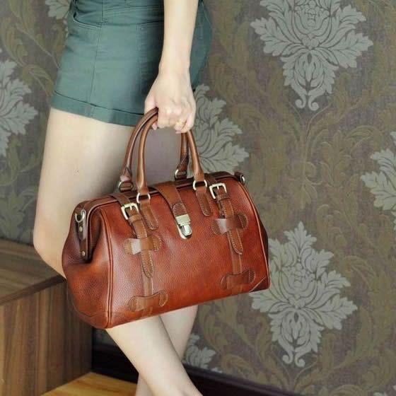 Vintage Handmade Antique Cow Leather Women's Handbag / Purse