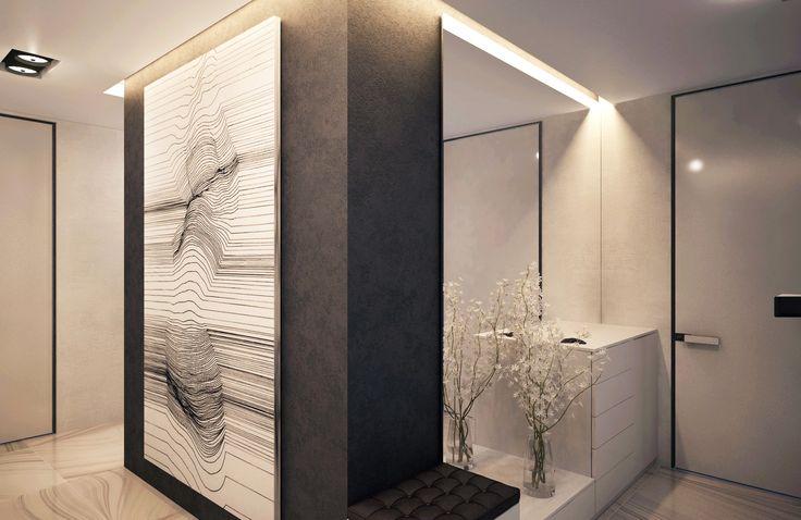 Концепция интерьера холла продумана до мелочей: пуф-тумбочка у колонны, различные системы освещения, открытые полки и системы хранения с закрытыми фасадами, в виде тумбы при входе в квартиру. Интерьер холла дополняет настенная графика.