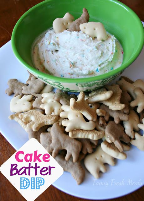 Cake Batter Dip: package cake mix (confetti or funfetti), vanilla yogurt, whipped cream.  Serve with graham cracker, fruit or animal crackers!