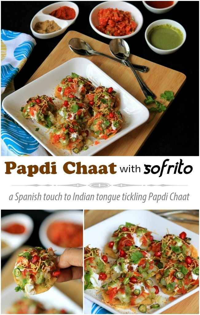 Papdi Chaat with Sofrito is a Spanish touch to one of the Indian tongue tickling sweet, sour and spicy chaat - papdi chaat. Sofrito is a basic tomato sauce that forms the base of many traditional Spanish dishes. Here in this papdi chaat, I have used this Spanish tomato sauce, Sofrito. Instead of blending to a puree, I have chopped all the ingredients finely and then these are sauteed on slow flame. After some time, everything incorporate well and become a mushy texture. When the sauce cools…