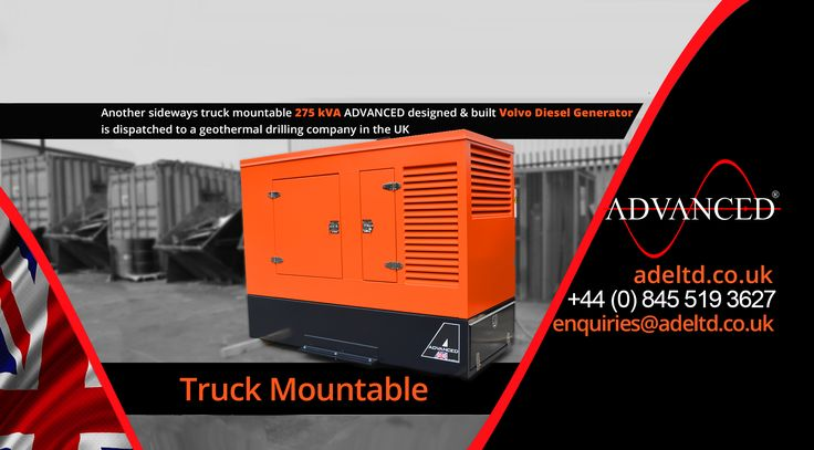 April 2017.  Truck mountable.  Another sideways truck mountable 275 kVA ADVANCED designed & built Volvo Diesel Generator is dispatched to a geothermal drilling company in the UK.  Visit: adeltd.co.uk for more information on Diesel Generators, acoustic enclosures, fuel tanks, modular switchgear housings, UPS modular buildings + much more.   Email: enquiries@adeltd.co.uk  Telephone: +44 (0)845 519 3627  Website: adeltd.co.uk #DieselGenerators   #DieselGenerators #DieselGenerator #showman…