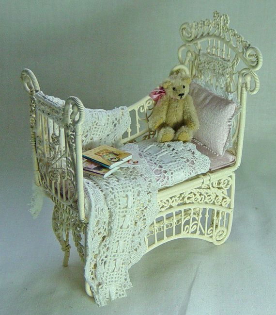 Dolls house Miniature Filled Baby Pink Nursery Cot / Crib