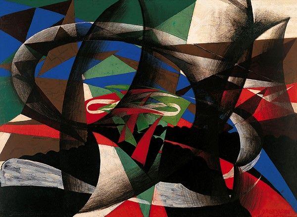"""Giacomo Balla """"Manifestación patriótica"""", 1915, Thyssen, Madrid"""