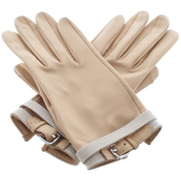 Pre-owned Gloves in beige ($575) ❤ liked on Polyvore featuring accessories, gloves, luvas, beige, beige gloves, real leather gloves, hermes gloves, leather gloves and hermès