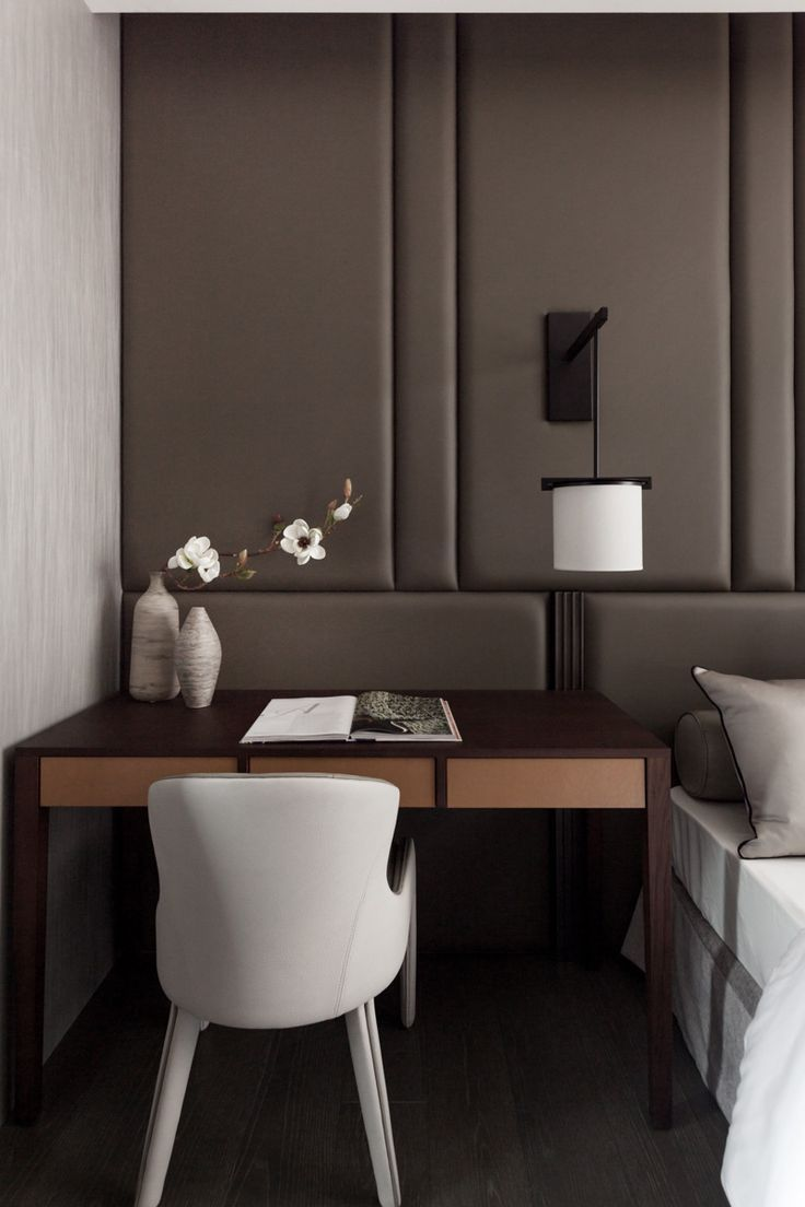 Modern Desk - Bedside Table - Upholstered Wall - Bedroom Furniture - Home Ideas