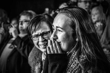 A young women cries as she listens to Hillary Clinton campaign in Philadelphia, Penn., Nov. 5, 2016. (Photo by Mark Peterson/Redux for MSNBC)