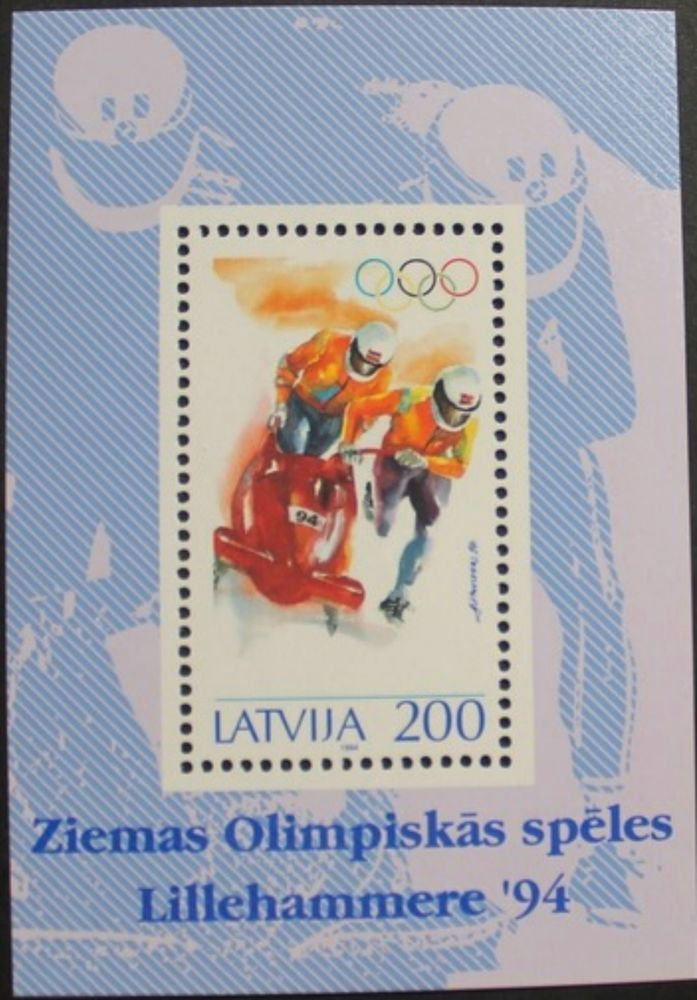 Winter Olympic games stamp sheet, 1994, Latvia, bobsleigh, SG ref: MS388, MNH