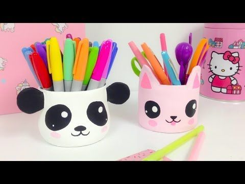 Manualidades KAWAII,organizador (ideas para decorar)panda y gato Kawaii - YouTube