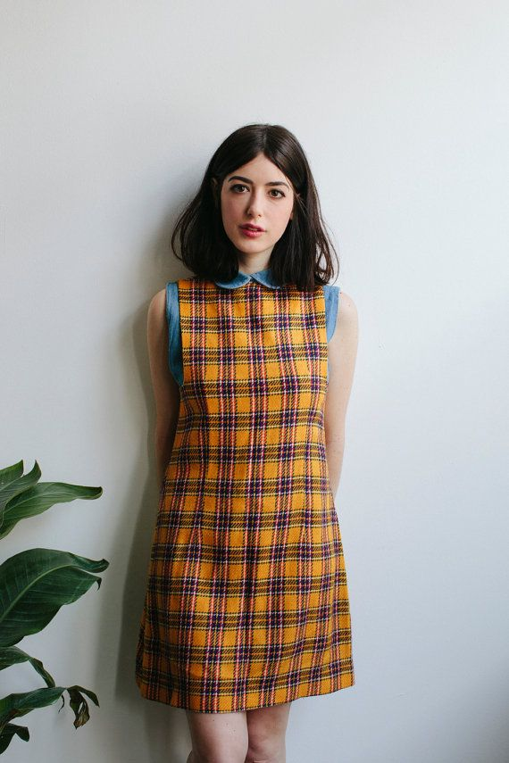 love this - 60s Yellow Plaid Pinafore Mini Dress by tomorrowisforever on Etsy
