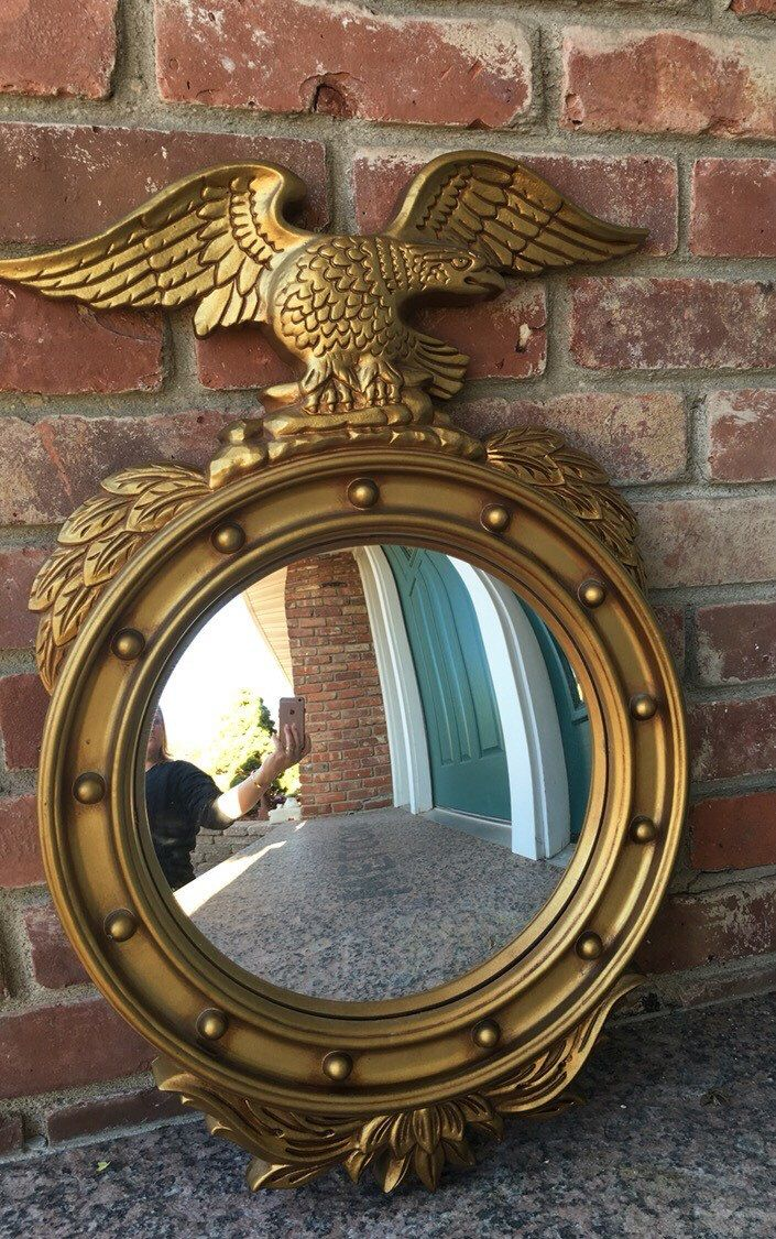 Huge old hand carved wood federal eagle folk art wooden eagle wall - Vintage 1960s Syroco Wall Mirror Federal American Eagle Convex