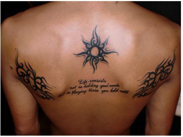 背中,トライバル,文字,レターのタトゥーデザイン タトゥーナビ
