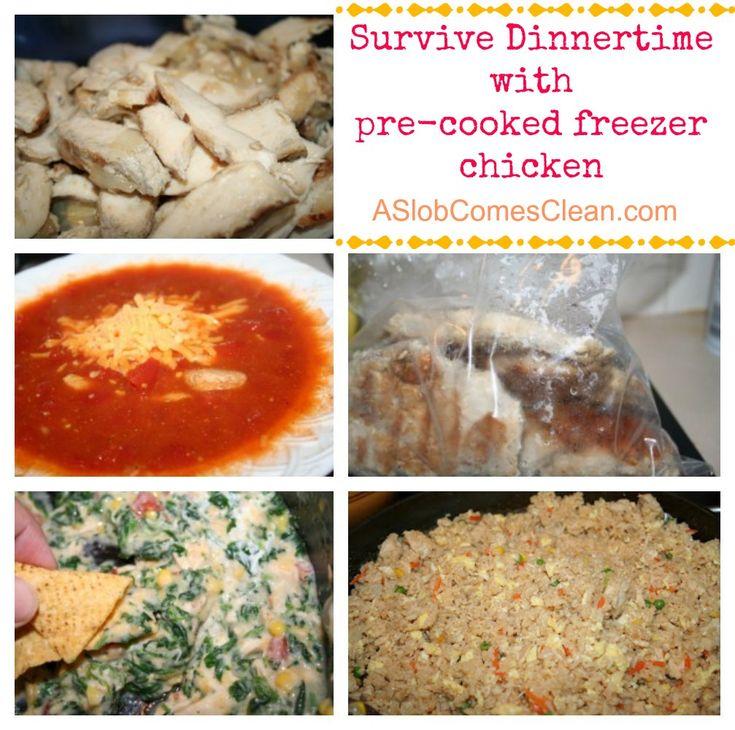 chicken-  Survive Dinnertime with pre-cooked freezer chicken.