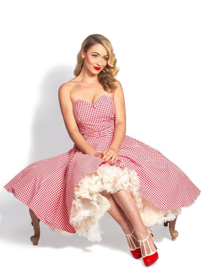 c502028222 Lola Lu Red Gingham Strapless 50s Swing Dress