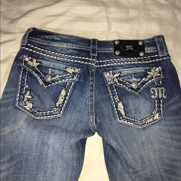 Miss Me Jeans Miss me jeans. Light wash. Size 27. Inseam 33. Light wash. Skinny jeans. Can be cuffed to create a cropped jean. Beautiful studding and bling. Missing one small stud on back pocket. Miss Me Jeans