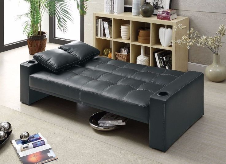 Convertible Sleeper Sofa Bed Transitional Furniture Dorm Faux Leather Black New