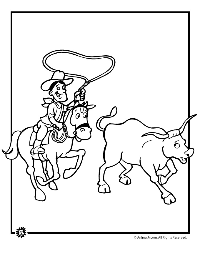 Cowboy Coloring Pages Cattle Roping Page Animal Jr
