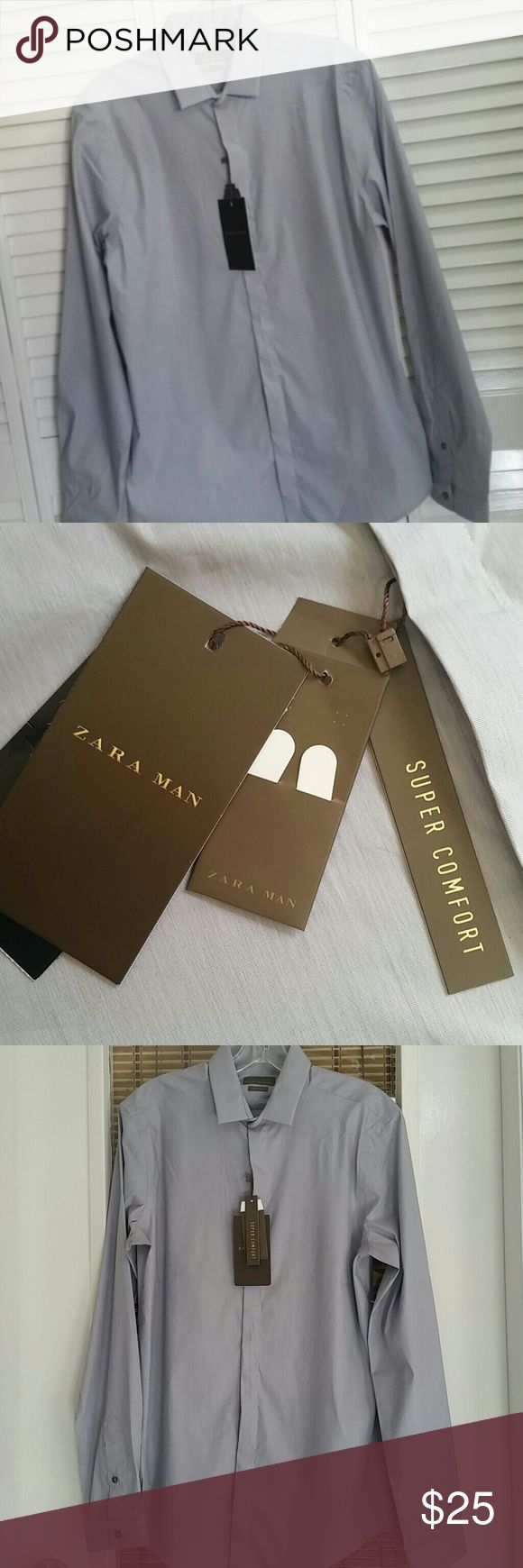 Zara Man shirt Slim fit sz M NEW Up for sale a formal Zara Man long sleeve shirt. The label reads size M slim fit, super comfort, 75% cotton 23 % poliammide,4 % elastane. Thank you for viewing Zara Shirts Dress Shirts