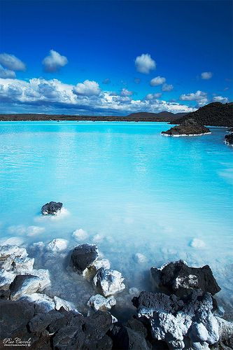 The Blue Lagoon in Iceland is one of the country's most popular destinations. Swimming in the water is a great treat!: