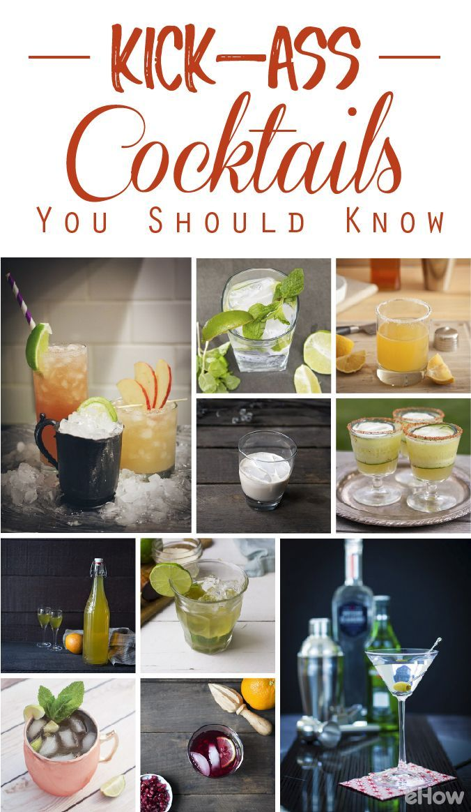 Learn the classics! Basic recipes for margaritas, martinis, and the old fashioned! We also have beautiful recipes for a fun white wine spritzer, pomegranate gin and tonic, mint julep and cocktails with ginger beer! Can't go wrong with these:  http://www.ehow.com/how_12343410_kickass-cocktail-recipes-should.html?utm_source=pinterest.com&utm_medium=referral&utm_content=curated&utm_campaign=fanpage