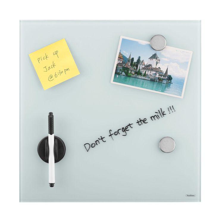 Cool VonHaus Glass Magnetic Memo Board in White