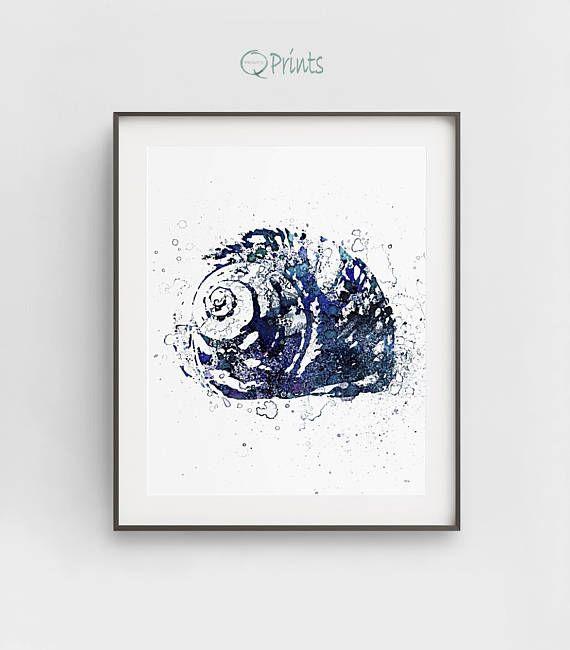Shell Art Print, Navy Blue Shell, Shell Digital Art, Digital Ocean Art, DIY Wall Art, Nautical Décor, Bathroom Wall Décor, Large Wall Art