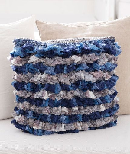 Rows of Ruffles Pillow Free Crochet Pattern in Red Heart Yarns