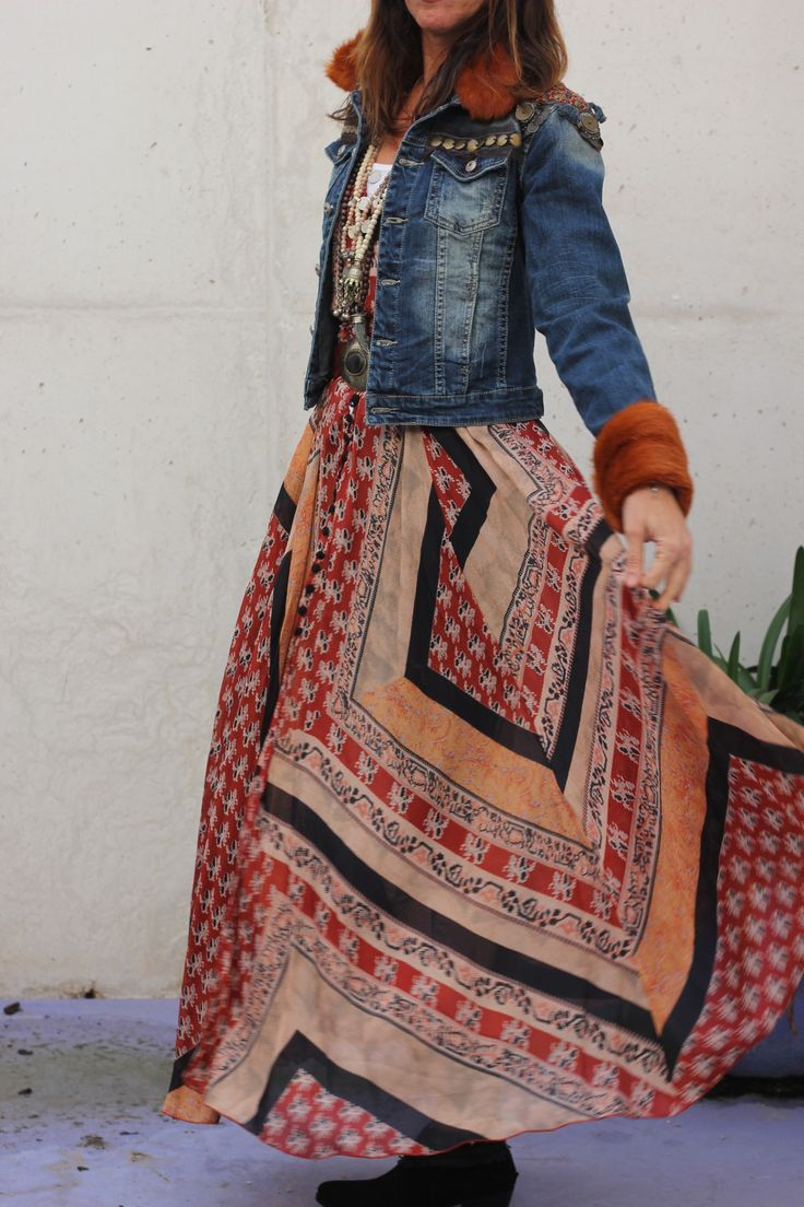 Fantastic hippie bohemian tribal print dress with a denim jacket...inspired!