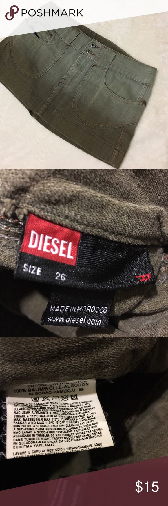 Diesel Diesel mini jean skirt, two toned. Faded green color. Size 26 Diesel Skirts Mini