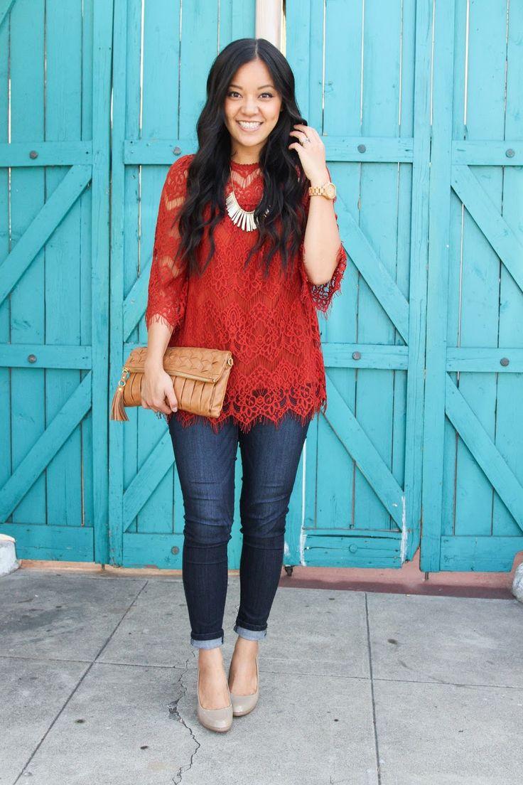 rust orange lace top + jeans + nude pumps