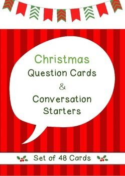 This set of 48 Christmas question cards are great for during the holiday season. These task cards will help initiate conversations or can also be used as writing prompts. You can cut out these no prep Christmas question cards and ask the questions to your students, or use them for pair or group work.