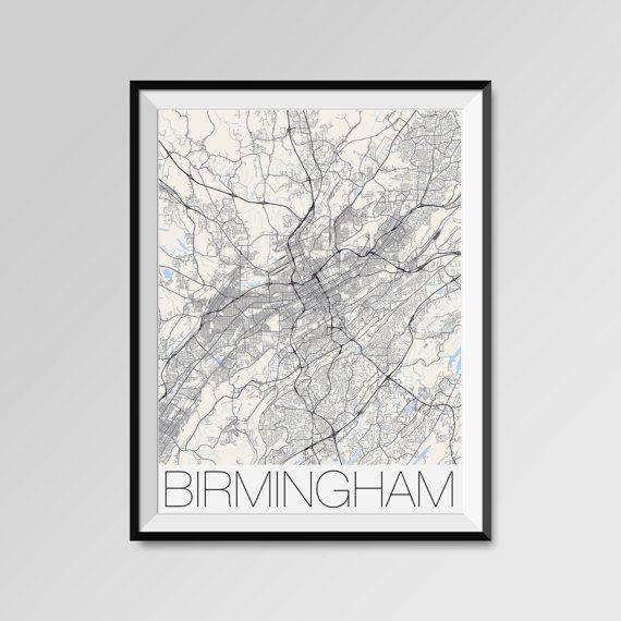 Birmingham map, Alabama, Birmingham print, Birmingham poster, Birmingham map art, Birmingham city maps, Birmingham Minimal Wall Art, Birmingham Office Home Décor, black and white custom maps, personalized maps