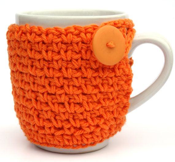 Coffee Cup Cozy Crochet Cup Sleeve Orange by Sweetbriers on Etsy, $9.00